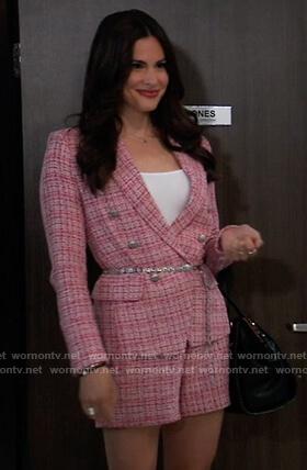 Brook Lynn's pink tweed blazer and shorts on General Hospital