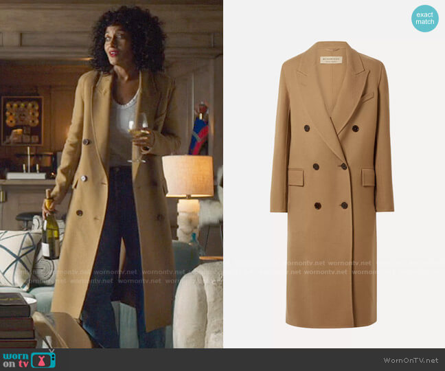 Burberry Double-breasted wool and silk-blend twill coat worn by Grace Davis (Tracee Ellis Ross) on The High Note