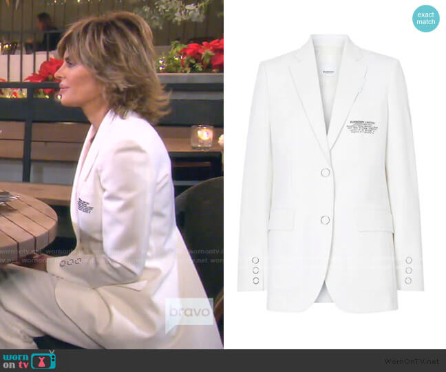 Location Print blazer by Burberry worn by Lisa Rinna  on The Real Housewives of Beverly Hills