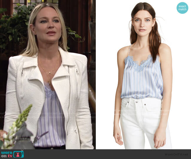 The Racer Charmeuse Cami by Cami Nyc worn by Sharon Collins (Sharon Case) on The Young & the Restless