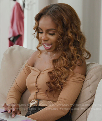 Candiace's beige off shoulder bodysuit on The Real Housewives of Potomac