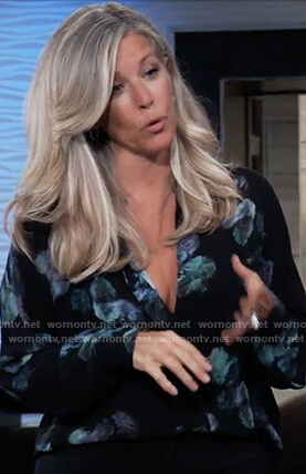 Carly's black floral blouse on General Hospital