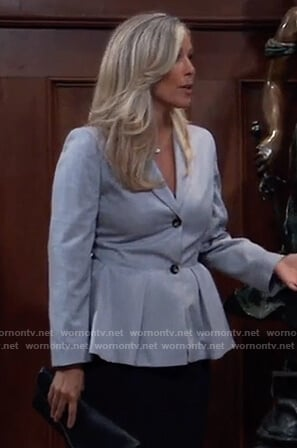 Carly's blue peplum blazer on General Hospital