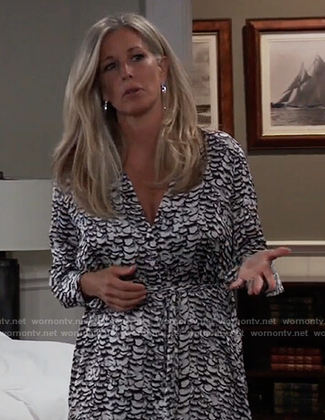 Carly's printed shirtdress on General Hospital