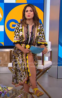 Cecilia's mixed print midi dress on Good Morning America