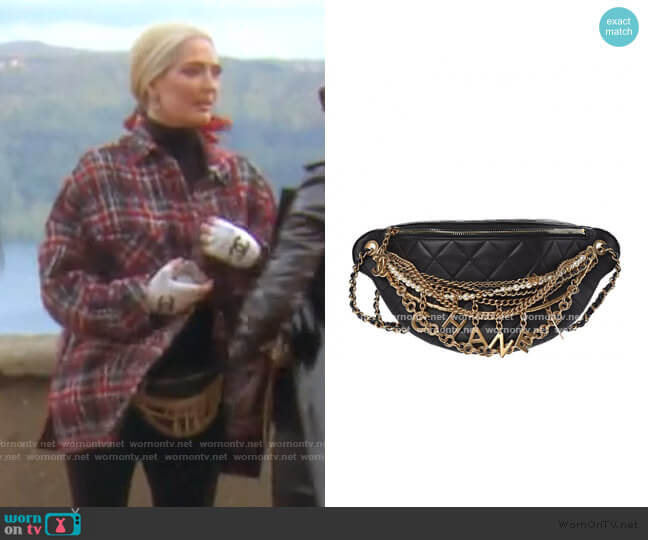 Quilted All About Chains Waist Belt Bag Black by Chanel worn by Erika Girardi  on The Real Housewives of Beverly Hills