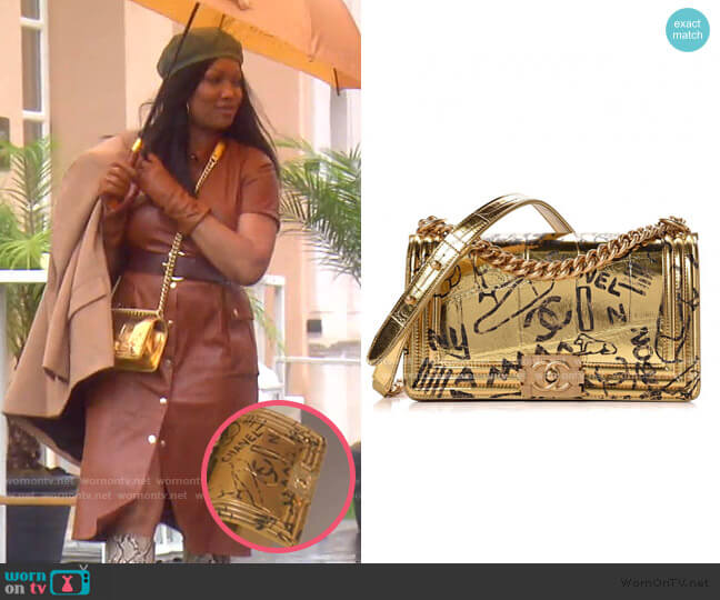 Metallic Crocodile Embossed Graffiti Bag by Chanel worn by Garcelle Beauvais  on The Real Housewives of Beverly Hills