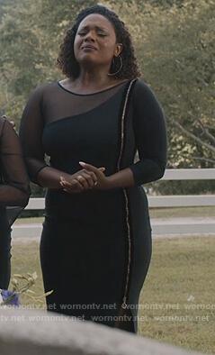 Charity's black zip embellished mesh dress on Greenleaf