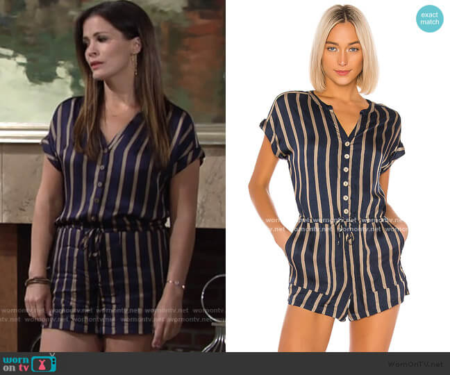 Drop Shoulder Drawstring Waist Romper by Chaser worn by Chelsea Lawson (Melissa Claire Egan) on The Young & the Restless