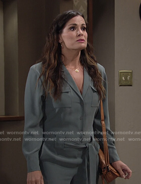 Chelsea's green tie waist jumpsuit on The Young and the Restless
