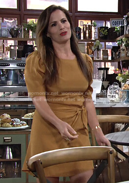 Chelsea's mustard short puff sleeve mini dress on The Young and the Restless