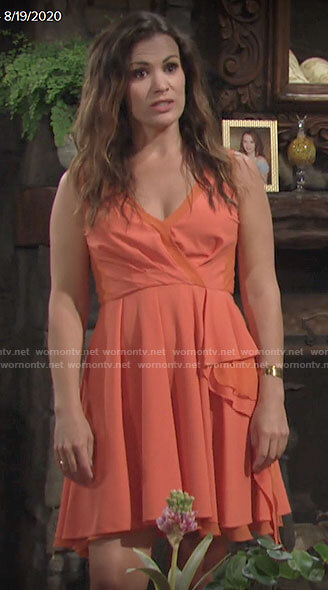 Chelsea's coral wrap front dress on The Young and the Restless