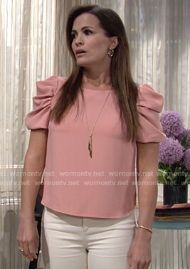 Chelsea's pink puff sleeve top on The Young and the Restless