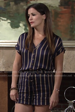 Chelsea's navy striped romper on The Young and the Restless