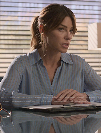 Chloe's blue striped blouse on Lucifer