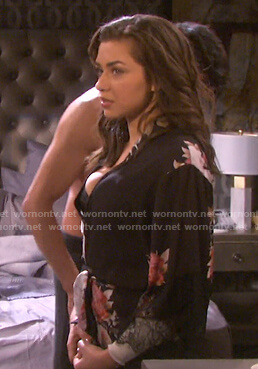 Ciara's black floral lace-trim robe on Days of our Lives