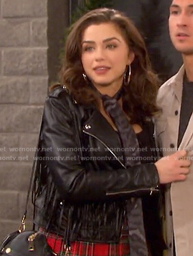 Ciara's black fringed moto jacket on Days of our Lives