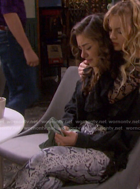 Ciara's snake print pants on Days of our Lives