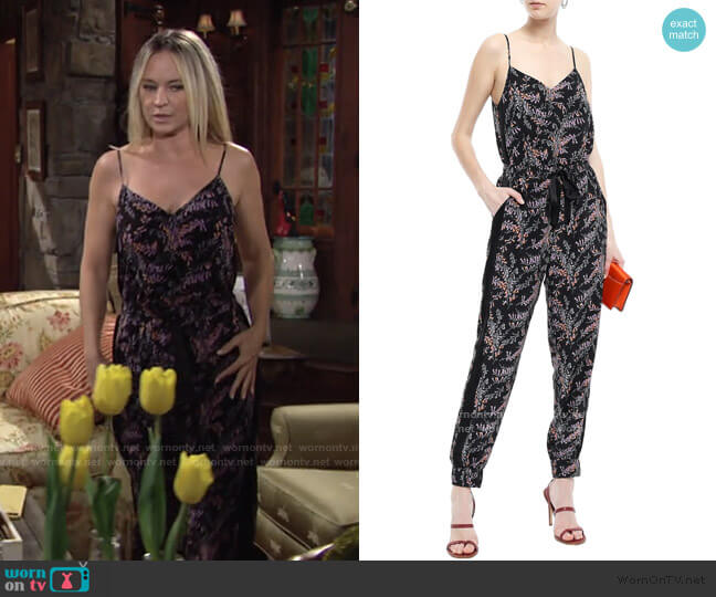 Amia floral-Print Jumpsuit by Cinq a Sept worn by Sharon Collins (Sharon Case) on The Young & the Restless