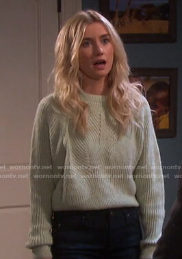 Claire's mint ribbed sweater on Days of our Lives