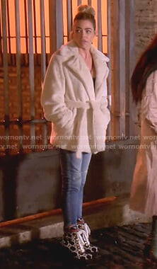 Denise's fur coat and ankle boots on The Real Housewives of Beverly Hills