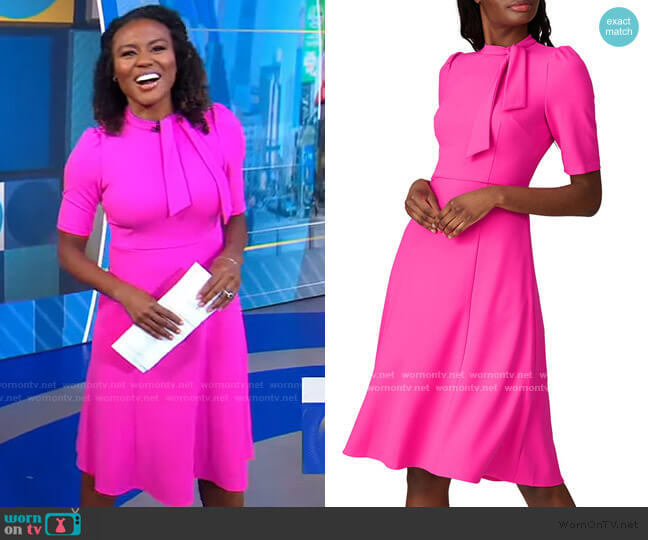 Tie Neck Dress by Donna Morgan worn by Janai Norman  on Good Morning America