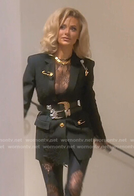 Dorit's black lace panel blazer and leggings on The Real Housewives of Beverly Hills