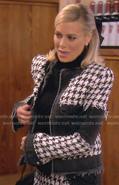Dorit's houndstooth denim jacket and skirt on The Real Housewives of Beverly Hills