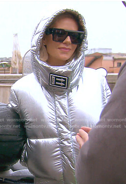 Dorit's silver puffer jacket and black sunglasses on The Real Housewives of Beverly Hills