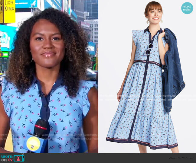 Collection Flutter Sleeve Patio Shirtdress by Draper James worn by Janai Norman  on Good Morning America