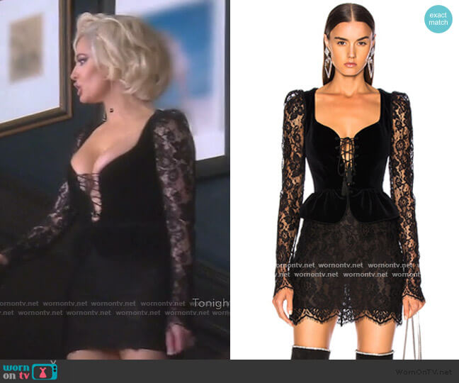 Lace & Velvet Long Sleeve Corset Mini Dress by Dundas worn by Erika Girardi  on The Real Housewives of Beverly Hills