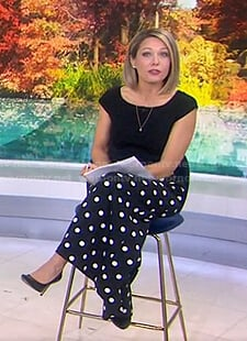 Dylan's black polka dot wide-leg pants on Today
