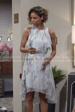 Elena's pale green floral ruffle dress on The Young and the Restless