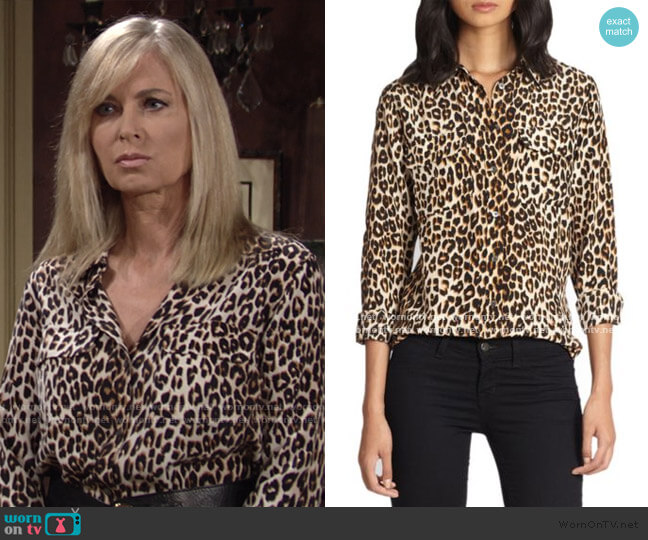 Slim Signature Silk Leopard Print Shirt by Equipment worn by Ashley Abbott (Eileen Davidson) on The Young & the Restless