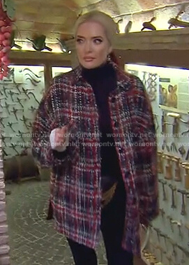 Erika's plaid tweed coat on The Real Housewives of Beverly Hills