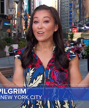 Eva Pilgrim's blue floral dress on Good Morning America