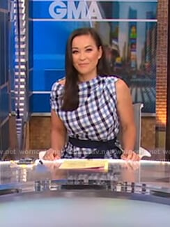 Eva Pilgrim's asymmetrical checked dress on Good Morning America