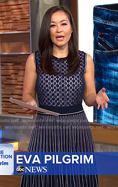 Eva Pilgrim's navy pleated knit dress on Good Morning America