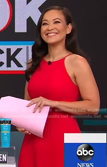 Eva Pilgrim's red and pink colorblock pleated dress on Good Morning America
