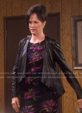 Eve's black floral dress and crocodile draped jacket on Days of our Lives