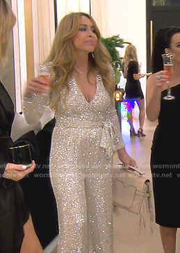 Faye Resnick's sequin wrap jumpsuit on The Real Housewives of Beverly Hills