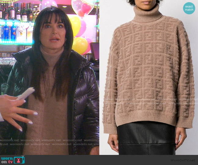 FF Motif Roll Neck Jumper by Fendi worn by Kyle Richards  on The Real Housewives of Beverly Hills