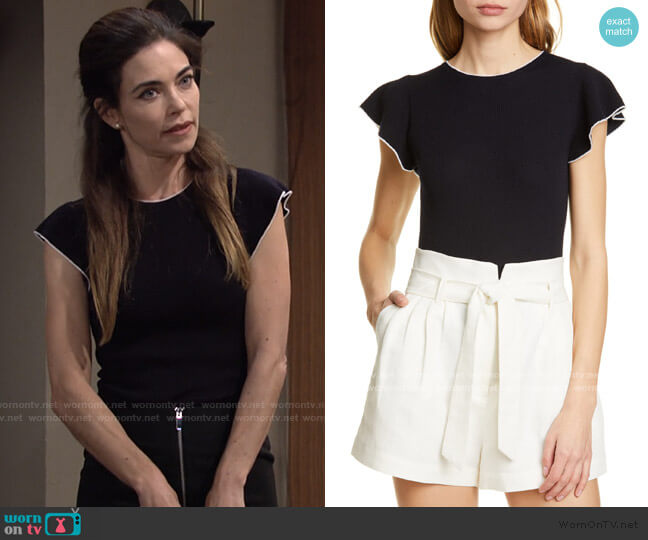 True Feminine Merino Wool Sweater by Frame worn by Victoria Newman (Amelia Heinle) on The Young & the Restless