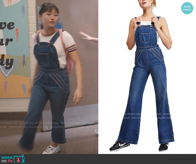 Chasing Rainbows Overalls by Free People worn by Rachelle Cohen-Strauss (Haley Tju) on Trinkets