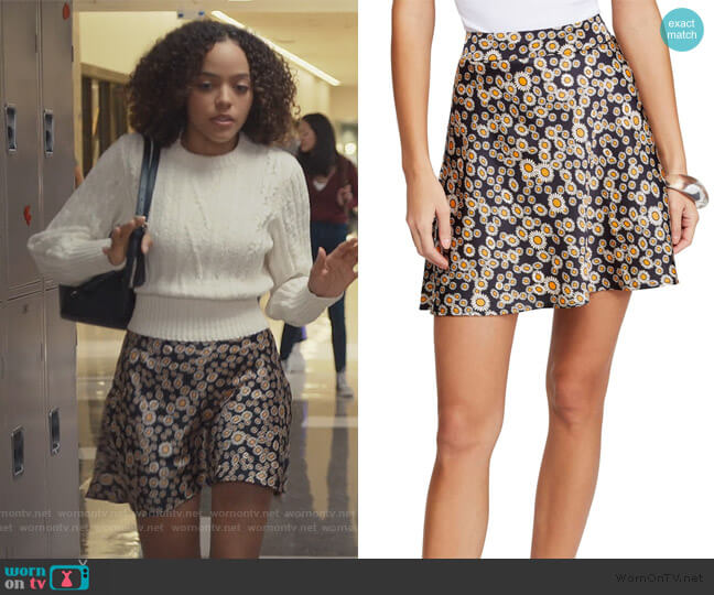 Phoebe Print Miniskirt by Free People worn by Tabitha Foster (Quintessa Swindell) on Trinkets