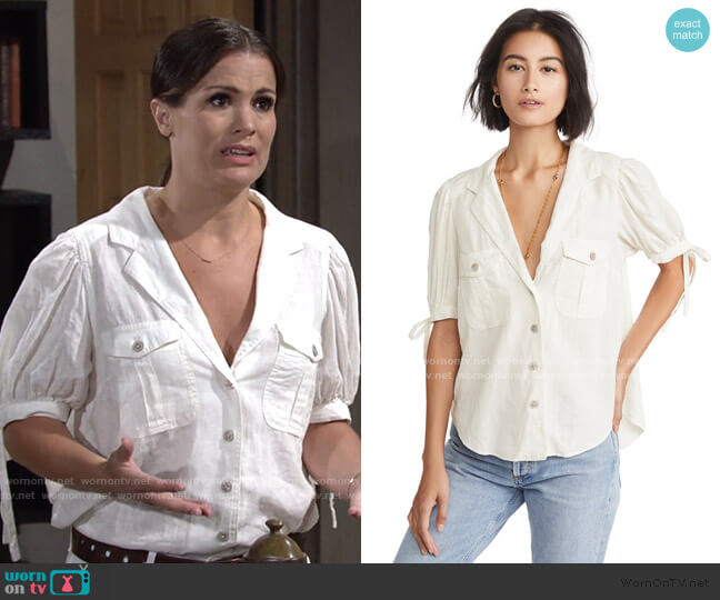 Safari Babe Top by Free People worn by Chelsea Lawson (Melissa Claire Egan) on The Young & the Restless