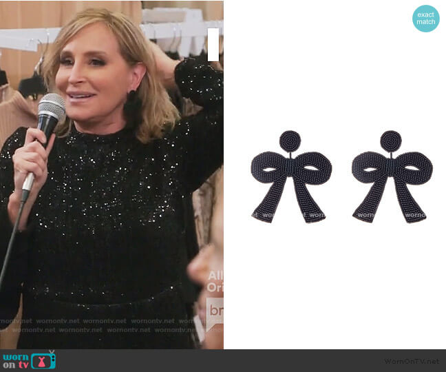 Large Black Bow Earrings French and Ford worn by Sonja Morgan  on The Real Housewives of New York City