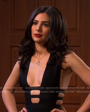 Gabi's black cutout jumpsuit on Days of our Lives
