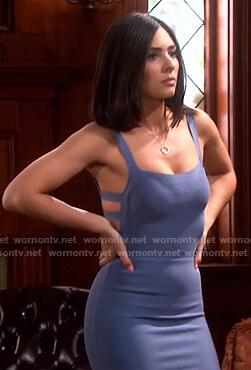 Gabi's blue cutout bandage mini dress on Days of our Lives