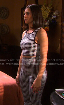 Gabi's houndstooth cropped top and leggings on Days of our Lives